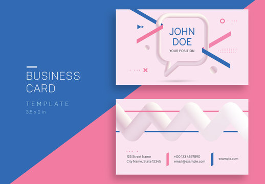Pastel Business Card Layout Abstract 3D Geometric Elements