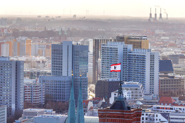 berlin cityscape with berlin town hall flag