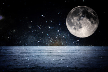 Surreal fantasy concept - full moon with stars and full moon in the night, fantasy concept