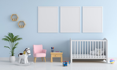 Three blank photo frame for mockup in child room, 3D rendering