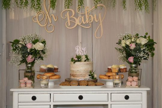 Baby shower cake table, rustic garden decor.