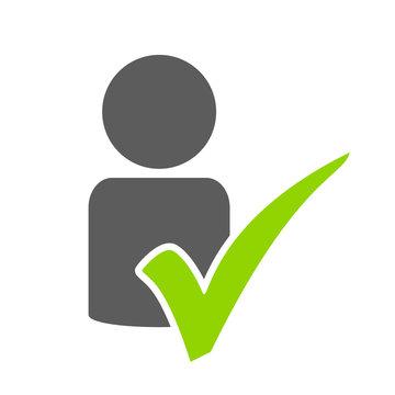 Geprüftes Profil - Icon mit Person und und Häkchen