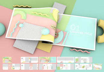 Multipurpose Brochure with Pastel 3D Geometric Elements