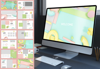 Screen Presentation Layout with Retro Pastel 3D Geometric Elements