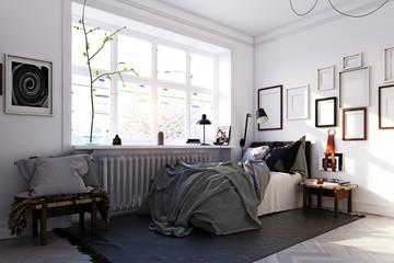 scandinavian style bedroom interior.