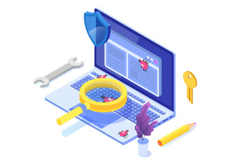 Software or application testing  isometric vector concept.  Debugging development process. Vector illustration.