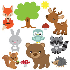 Cute forest baby animal vector cartoon illustration