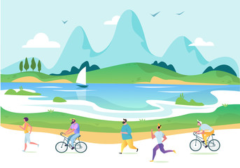 Poster Lichtblauw Vectorurban landscape in a minimalist style. Man and woman characters running, riding bicycle, skateboarding, roller skates, fitness. The city. Vector illustration