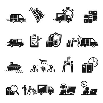 Parcel delivery icons set. Simple set of parcel delivery vector icons for web design on white background