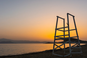 View of the sunset from Agios Prokopios beach, Naxos, Greece