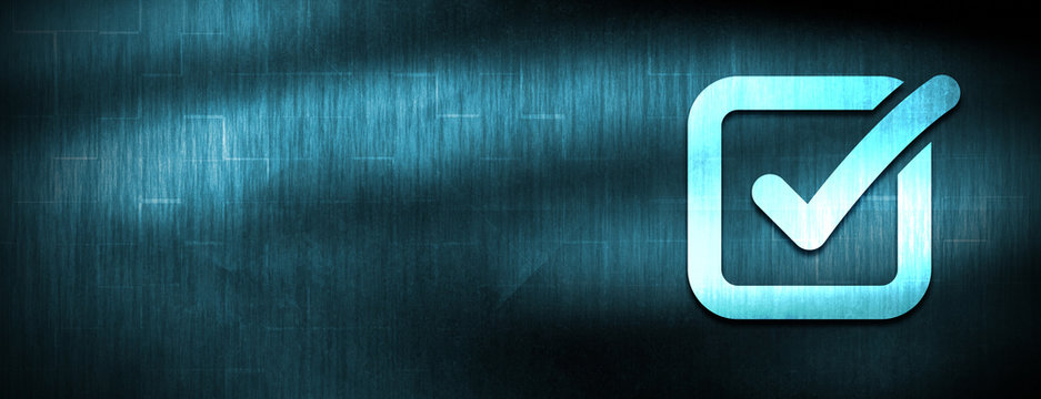 Check box icon abstract blue banner background