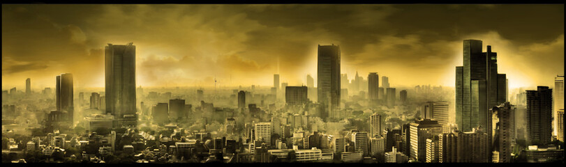 Nuclear city, apocalyptic landscape, digital art Wall mural