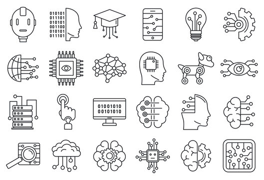 Artificial intelligence system icons set. Outline set of artificial intelligence system vector icons for web design isolated on white background