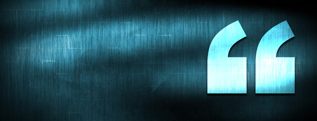 Quote icon abstract blue banner background