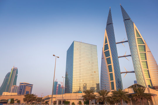 Low angle view of Bahrain World Trade Center in Manama, Bahrain