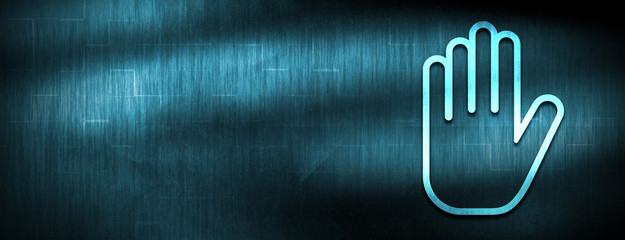 Stop hand icon abstract blue banner background
