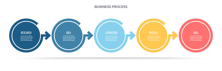 Business infographics. Timeline with 5 steps, options, circles. Vector template.
