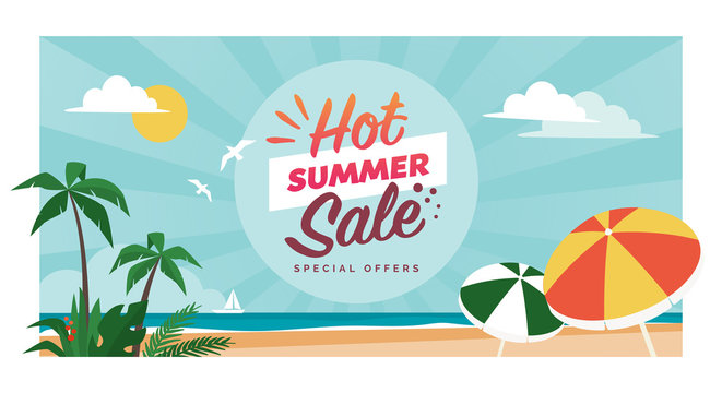 Hot summer sale promotional banner with tropical beach