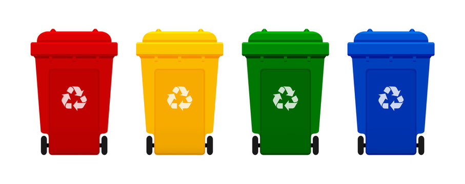 bin plastic, four colorful recycle bins isolated on white background, red, yellow, green and blue bins with recycle waste symbol, front view of four recycle bin plastic, 3r