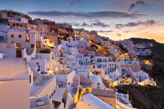Oia village at sunset, Santorini, Greece