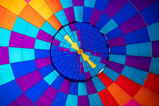 The inside of an inflated hot air balloon