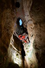 Spelunker in Cija de los Royos Cave,Teruel Province, Aragon, Spain.