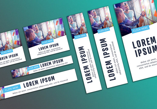 Web Banner Layout Set with Light Blue Accents