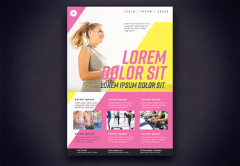 Gym Fitness Flyer Layout with Pink and Yellow Elements