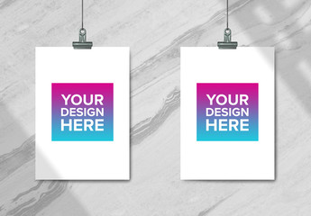 Hanging Posters with Binder Clips Mockup