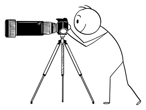 Vector cartoon stick figure drawing conceptual illustration of man or photographer taking photo with camera with big and long zoom or telephoto lens mounted on tripod.