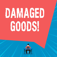 Text sign showing Damaged Goods. Business photo showcasing Products or commodities that are broken, cracked or scratched