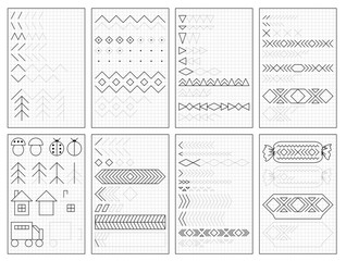 Set of black and white educational pages on square paper for kids. Printable worksheet for children textbook. Developing skills of counting, drawing, writing and tracing. Baby book. Back to school.