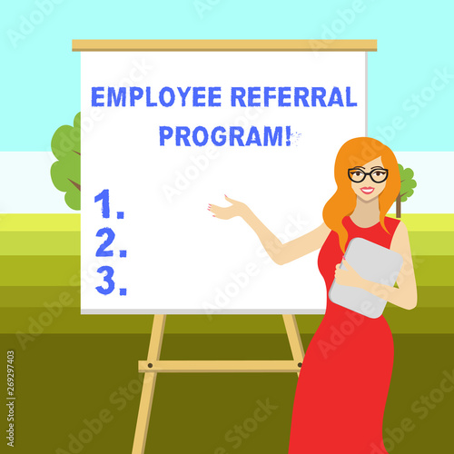 Conceptual hand writing showing Employee Referral Program