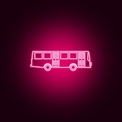 Bus neon icon. Elements of Transport set. Simple icon for websites, web design, mobile app, info graphics