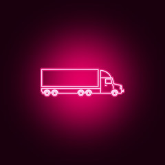 lorry with a trailer neon icon. Elements of Transport set. Simple icon for websites, web design, mobile app, info graphics