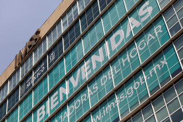 A logo of the IMSS is pictured in Mexico City