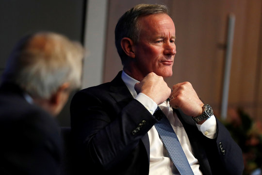 Retired U.S. Navy Admiral William McRaven speaks during a Reuters Newsmakers event in New York