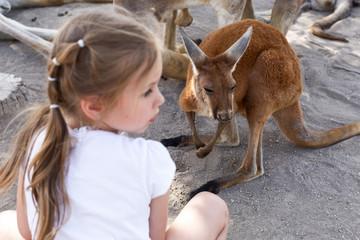 Foto op Aluminium Kangoeroe cute little girl and a kangaroo at an australian zoo in israel