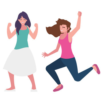 happy young women celebrating characters