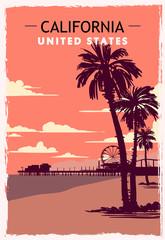 California retro poster. USA California travel illustration.