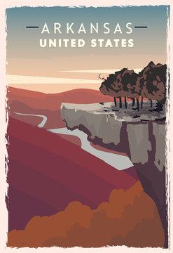 Arkansas retro poster. USA Arkansas travel illustration.