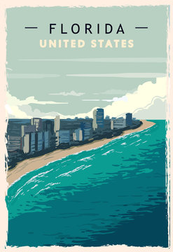 Florida retro poster. USA Florida travel illustration.