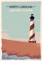 North Carolina retro poster. USA North-Carolina travel illustration. United States of America greeting card.