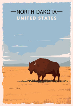 North Dakota retro poster. USA North-Dakota travel illustration.
