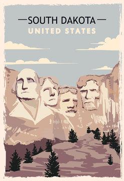 South Dakota retro poster. USA South-Dakota travel illustration.