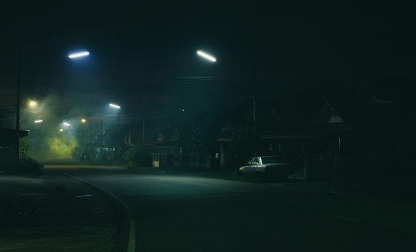 Street night scene and smoke background