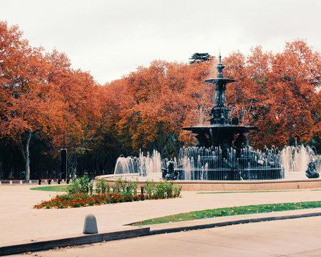 Fountain in San Martin Park in Mendoza western Argentina