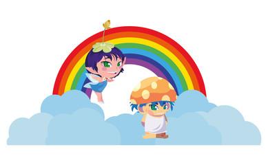 Door stickers Rainbow beautiful magic fairy and fungu elf with rainbow scene