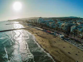 Sitges, village of Barcelona.Spain. Aerial photo by Drone