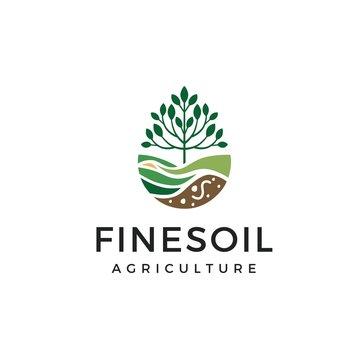 Tree with soil farming agriculture logo design inspiration